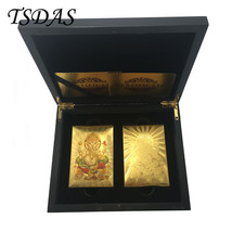 Golden & Colorful Gold Poker Card Gold Plated India God Souvenir Playing... - $28.00