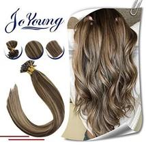 JoYoung 16inch Keratin Bonde Remy Hair Extensions U Tip Highlight Dark Brown wit