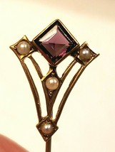 Antique Victorian Stick Pin 10K Gold Amethyst with Half Seed Pearls - $90.25