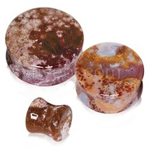 PAIR-Stone Jasper Natural Ocean Saddle Flare Ear Plugs 08mm/0 Gauge Body... - $8.99