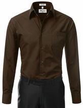 Berlioni Italy Men's Long Sleeve Solid Regular Fit Brown Dress Shirt - XL image 2