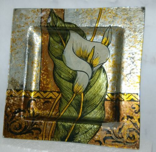 Lorren Home Trends G908 080 Glass Square Plate 12 Inches Lilly Collection