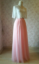 High Waisted Long Tulle Skirt Bridesmaid Outfit Tutu Skirt,Blush Pink (US0-US28) image 4