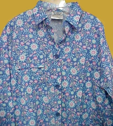 Primary image for Scrub Jacket Crest Uniforms Womens Med Blue Floral Flowers Print Big Shirt New