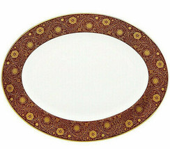 "Lenox Floral Majesty Oval Platter 13"" Brick Red & Gold Rim New Boxed - $119.90"