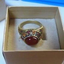 Heidi Daus Reddish/Orange Oval Cabochon Multi-Color Crystal Ring  Size 11.5 - $64.35