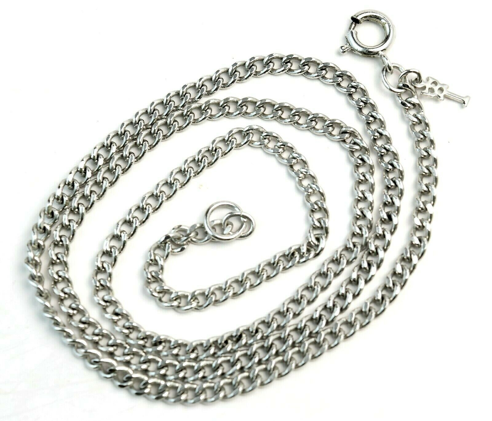 Vintage 60's Crown Trifari Silver Tone Curb Chain Necklace 18 inch - $25.74