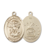 St. Michael the Archangel Air Force 3/4 x 1/2 Inch 14kt Gold Medal - $749.99