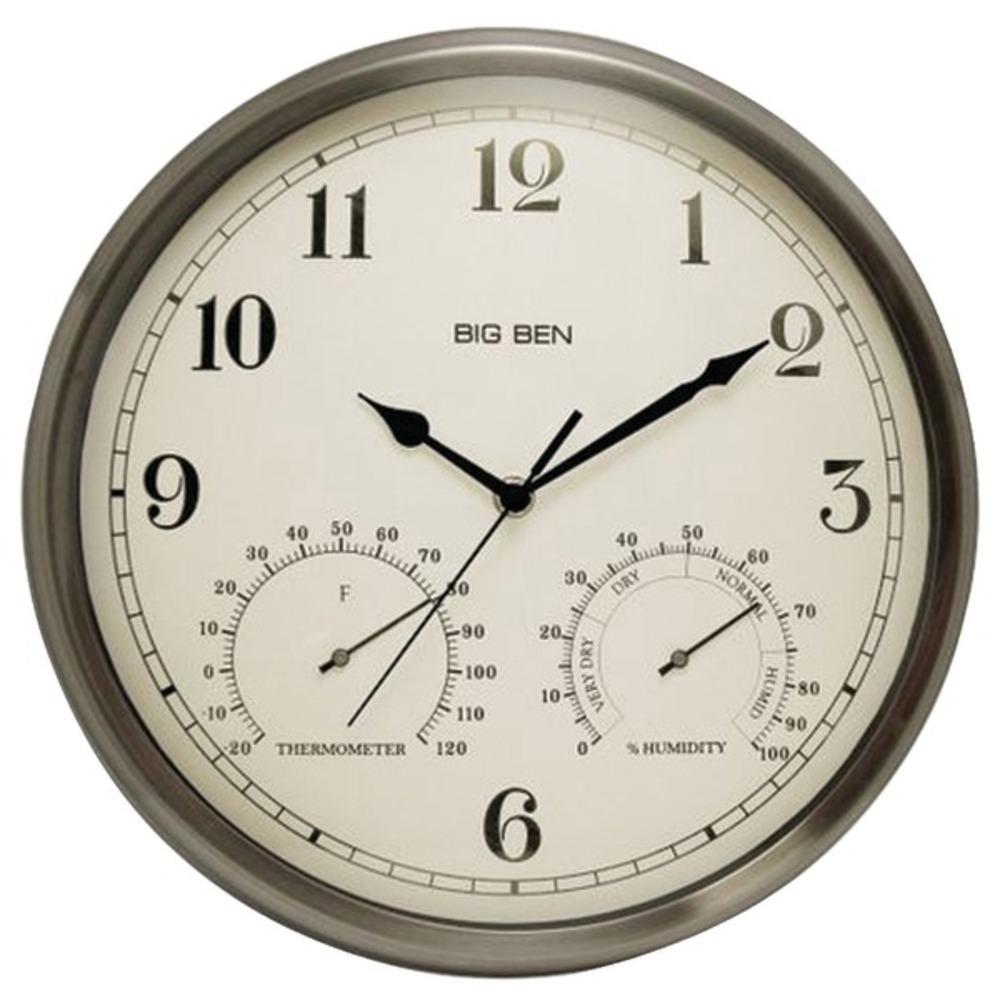 Westclox 49832 Indoor/Outdoor Clock with Temperature & Humidity Gauges