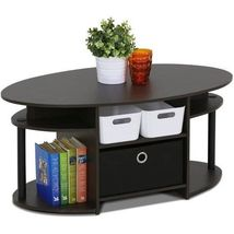 End Tables Sofa Small Modern Coffee Table Wood Black Round Oval Table Fo... - $85.95