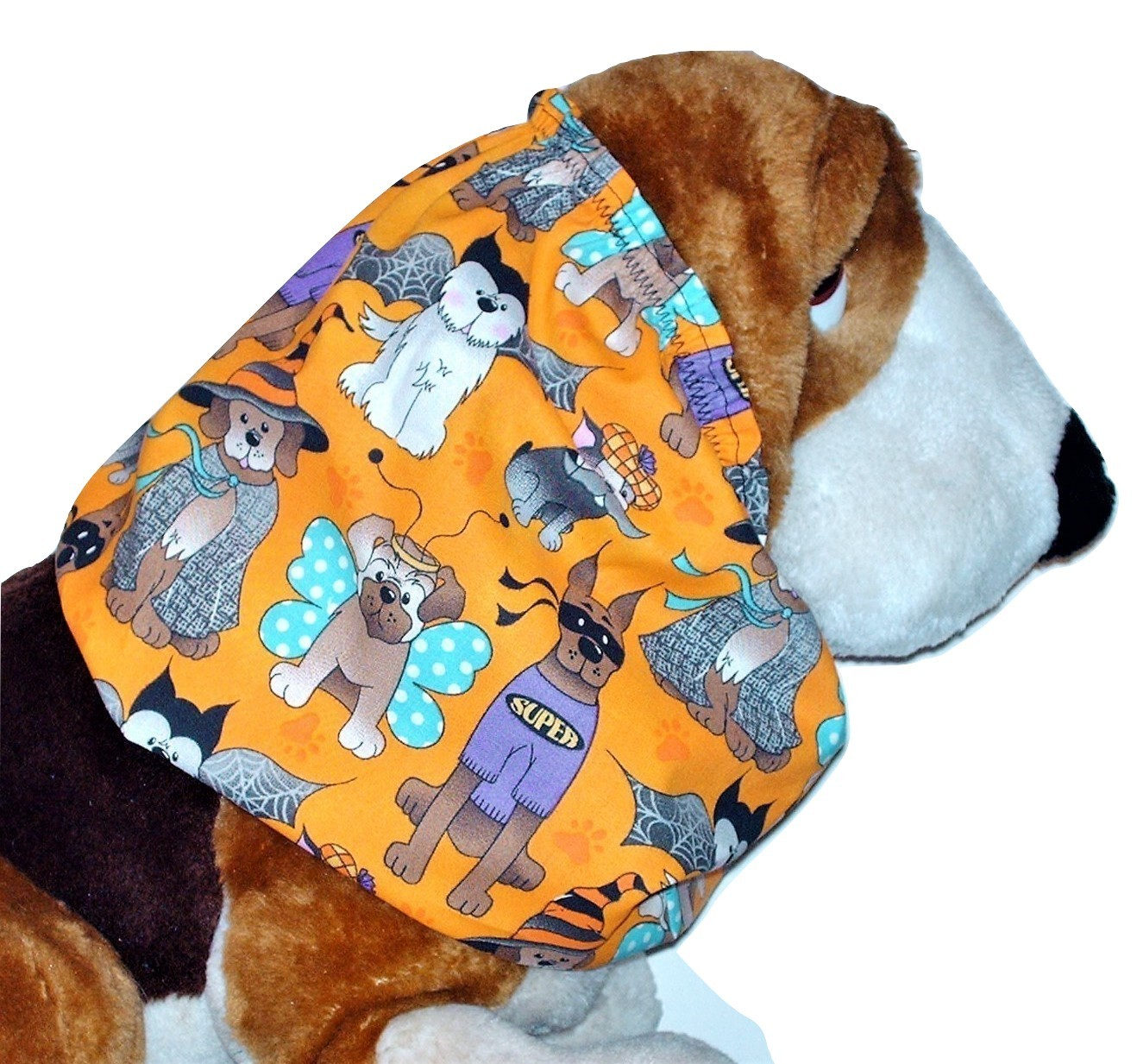 Primary image for Halloween Dog Costume Party Orange Cotton Dog Snood by Howlin Hounds Puppy SHORT