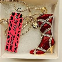 Betsy Johnson Gold Tone Red Hot Strapped Enamel Rhinestone Boots Pendant - $25.00