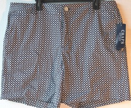Chaps by Ralph Lauren Misses 16 Navy Blue White Geometric Sateen Shorts - $29.99