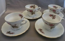 Vintage Moss Rose Mini Japan Tea Set: 4 Cups and Saucers Child Size + 2 ... - $20.00