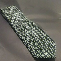 Brooks Brothers Makers Navy Blue With Green square 100% Silk Tie - $9.90