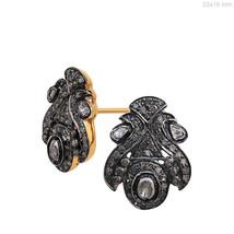 14k Yellow Gold 1.36 Ct Polki/Rose Cut Diamond Vintage Look Stud Earrings Silver - $294.53