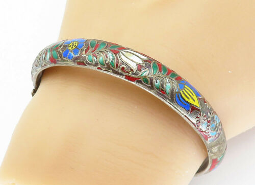 925 Silver - Vintage Antique Enamel Flower Patterned Bangle Bracelet - B5909