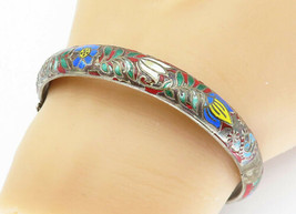 925 Silver - Vintage Antique Enamel Flower Patterned Bangle Bracelet - B... - $64.64