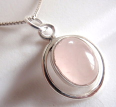 Rose Quartz Ellipse in Round Hoop Necklace 925 Sterling Silver Oval New - $21.73