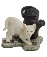 White Kitty Cat Figurine Standing by Watering Can 3x3.5x2.25 inch Resin  - $19.59