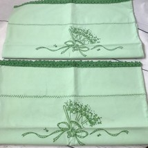 """Vintage Cotten Embroidered Pillowcases """"Yours"""" """"Mine"""" Green NICE FREE SH... - $23.36"""