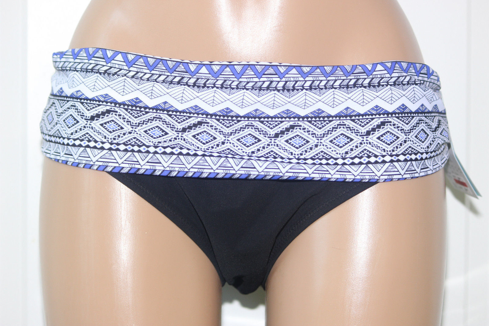 Primary image for NEW Profile Gottex Ruched Fold Over Black Blue Bikini Swim Bottom size 12