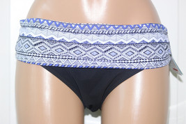 NEW Profile Gottex Ruched Fold Over Black Blue Bikini Swim Bottom size 12 - $11.84