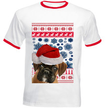 Boxer Puppy Santa Christmas - New Red Ringer Cotton Tshirt - $21.88