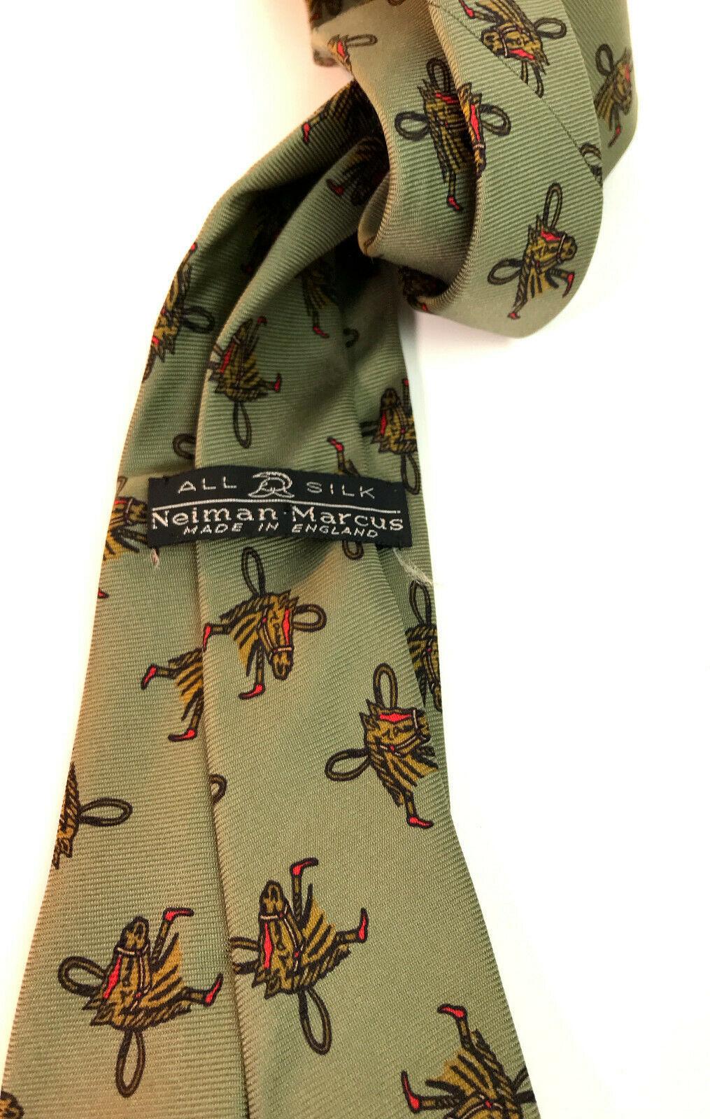 """Vintage Neiman Marcus Silk Horse 3"""" Necktie Made England"""