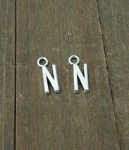 2 Letter N Charms Alphabet Pendants Uppercase Antiqued Silver  - $1.70