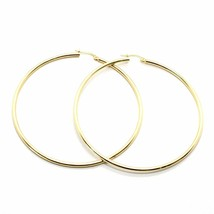 18K YELLOW GOLD ROUND CIRCLE EARRINGS DIAMETER 50 MM, WIDTH 2 MM, MADE IN ITALY image 1