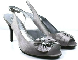 Nina Women's Silver Rhinestone Embellished Leather Strappy Dress Heels Size 10 - $29.89