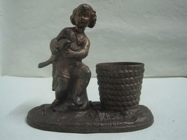 Antique pen holder in bronze of art a a child with a fish base A.B. - £48.41 GBP