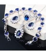 925 Sterling Silver Women Bridal Jewelry Sets Blue Zirconia Costuem Jewe... - $29.87