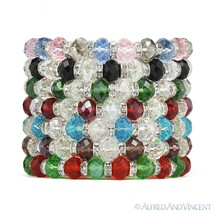 Faceted Resin Crystal Beaded Stretch Bracelet Austrian Czech CZ - Multi-Colors - $8.99