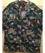 Philadephia Eagles Hawaiian Shirt XXL NFL Button Front Camp Mens 2XL Green - $49.49