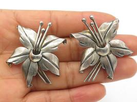 FF MEXICO 925 Silver - Vintage Antique Sculpted Flower Design Earrings -... - $50.96