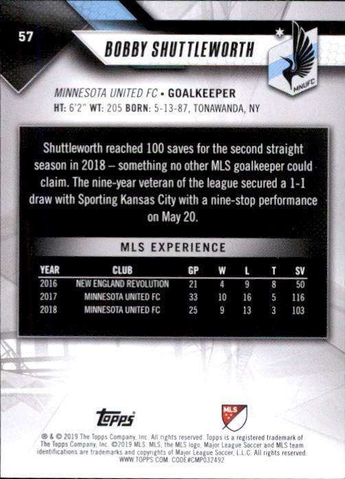 Bobby Shuttleworth 2019 Topps MLS Card #57