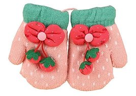 Durable Lovely Warm Gloves Useful Woolen Winter Baby Mittens 137CM Pink