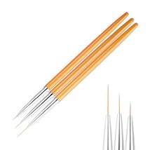 3Pcs/set Gold Nail Art Lines Painting Pen Brush Professional High Qualit... - $9.89