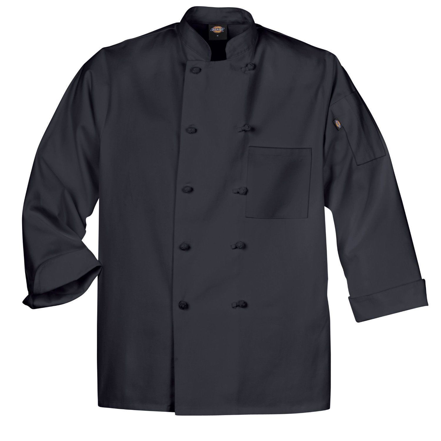 Dickies Chef Jacket M DCP109 BLK Cloth Knot Button Black Uniform Coat Bled New