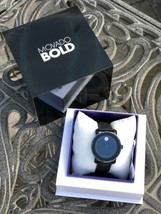 NEW IN BOX SEAL WOMEN'S MOVADO (3600483) BOLD BLACK LEATHER STRAP CRYSTA... - $800.00