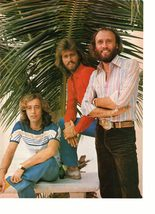 Bee Gees teen magazine pinup clipping by a Pine tree