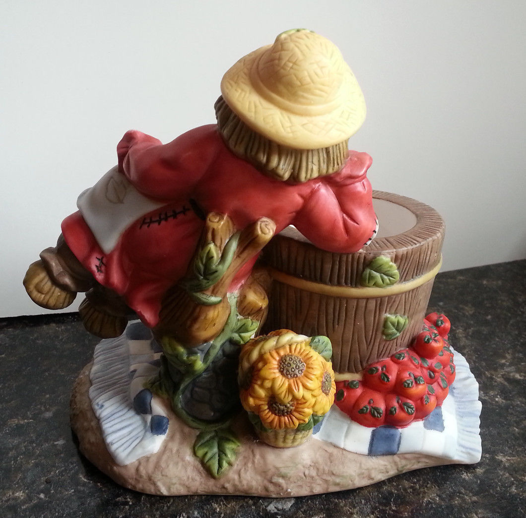 Scarecrow Votive Candle Holder Fall Harvest Apple Thanksgiving Partylite P7275