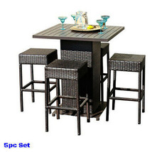 Rattan Dining Set Patio Bar Height Stool Wicker Seat Outdoor Clearance F... - $977.54