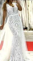 Bohemian Sparkling Wedding Dress- Mermaid Tulle Sleeveless Sparkle Beach... - $399.00
