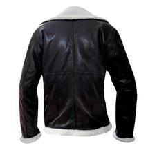 Men's B3 Sheepskin Aviator Pilot Fur Shearling Black Bomber Leather Jacket image 3