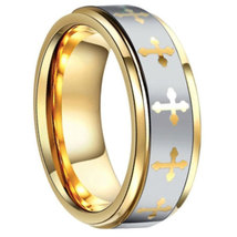 Men's 8mm Gold Tone Tungsten Band with Cross Ring - $53.99