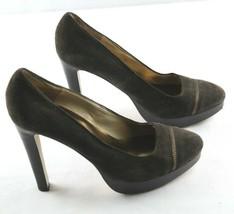 Michael Kors Platform Pumps Womens Sz 7.5 Brown Suede high Heel Shoes - $23.40