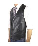 New Mens 100% Real Leather Black Vest Motorcycle Driver Vest Biker Vest ... - $39.58+